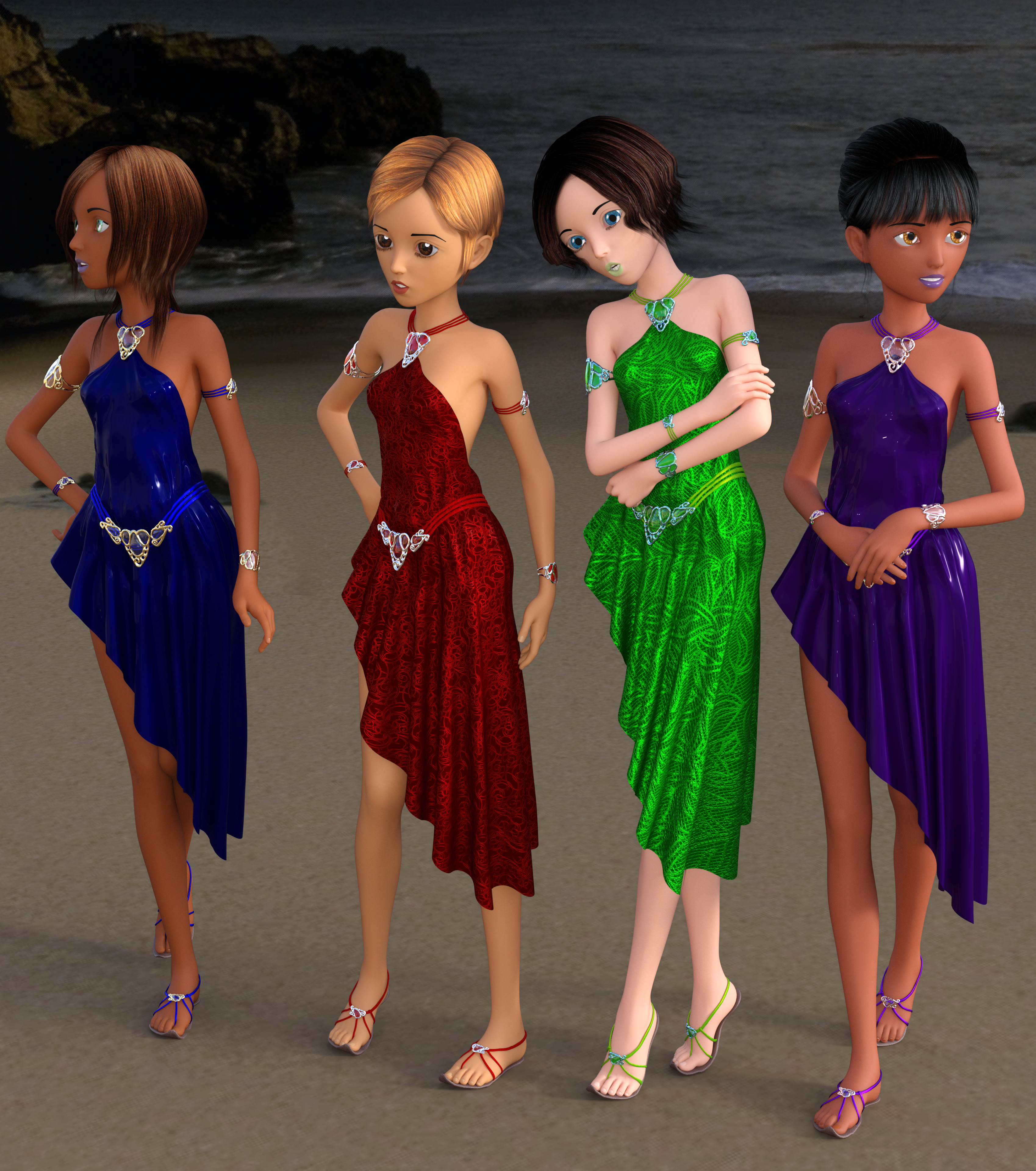 Four women standing on a beach wearing asymmetrical dresses, a belt, bracelets on their upper arms and wrists, a necklace, and a pair of sandals made up of ribbons held together by a set of three jewels on top of the foot.
