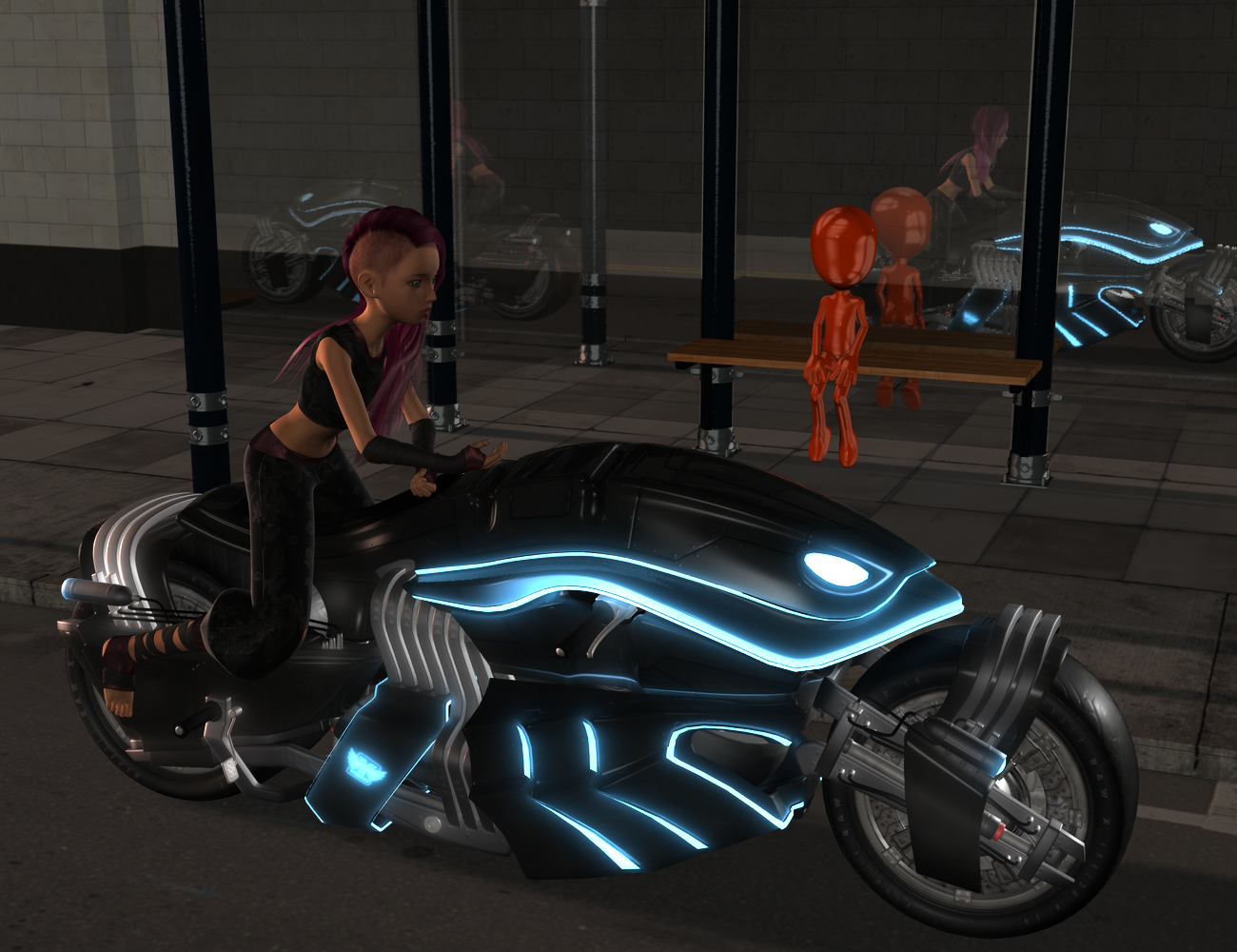 An odd tableau featuring an orange generic human form sitting at a bus stop and a hottie riding an awesome motorbike.