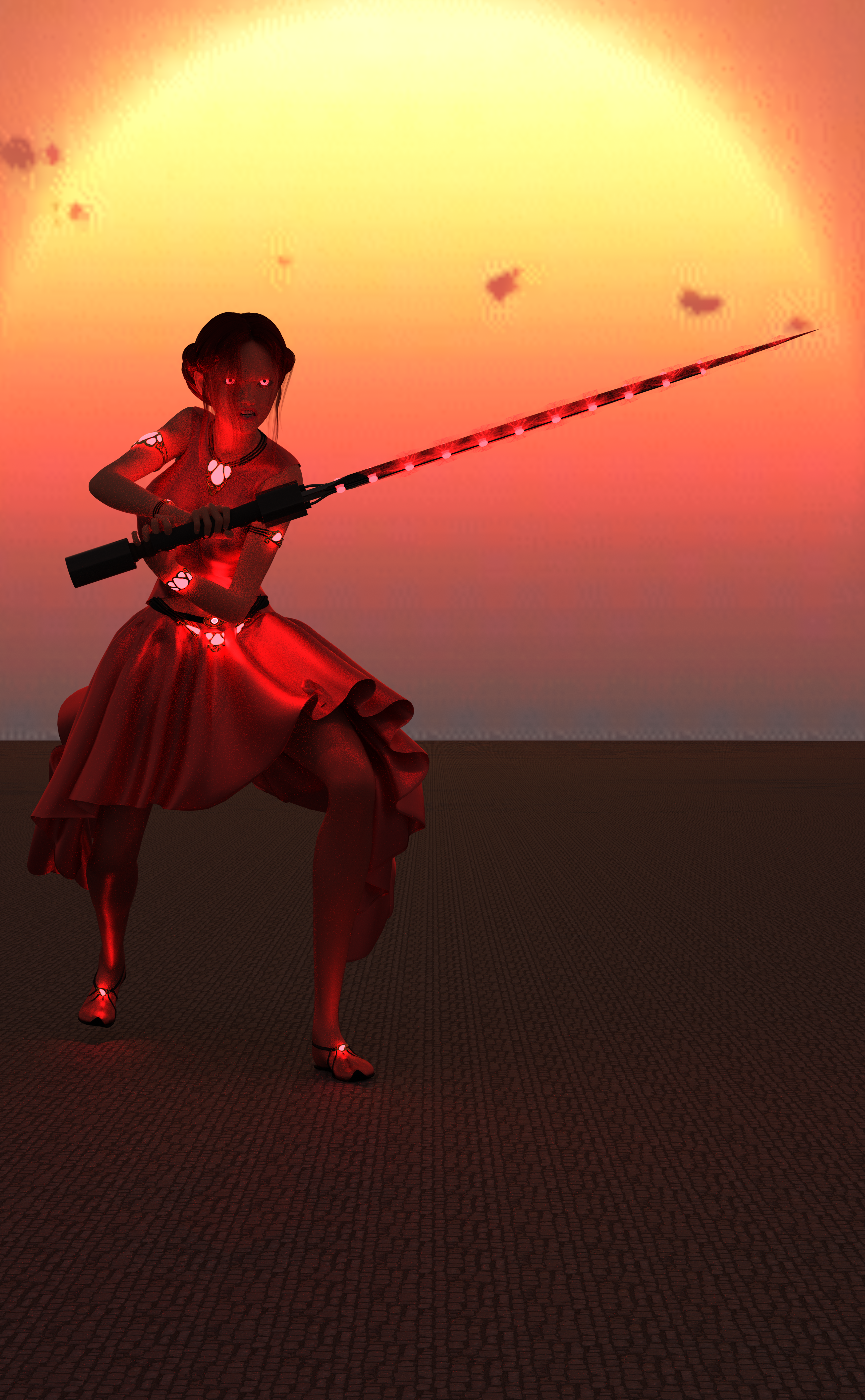A woman with red clothes, red hair, a sword charged with red magic, and glowing red eyes!