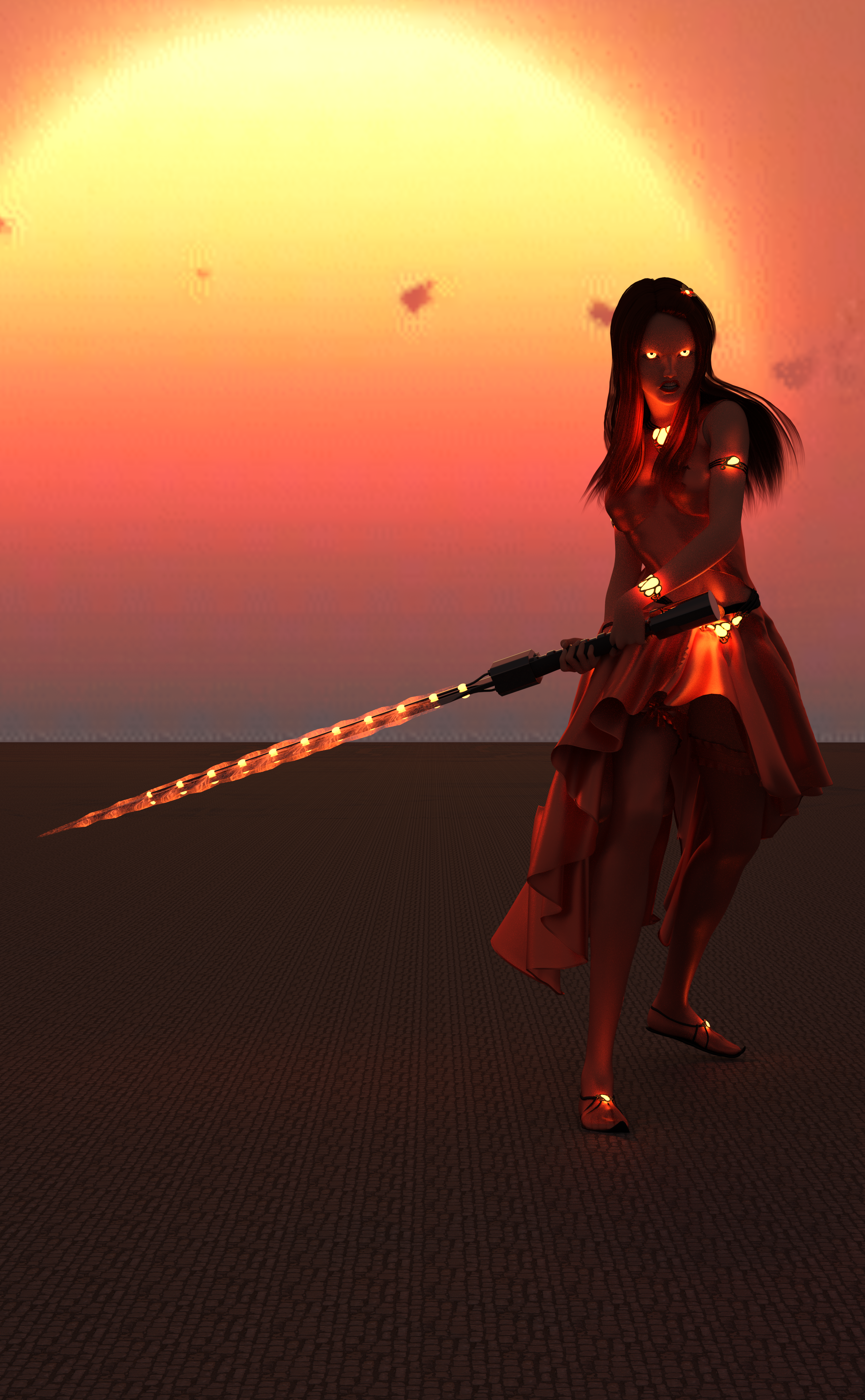 A woman with vermillion clothes, vermillion hair, a sword charged with vermillion magic, and glowing vermillion eyes!