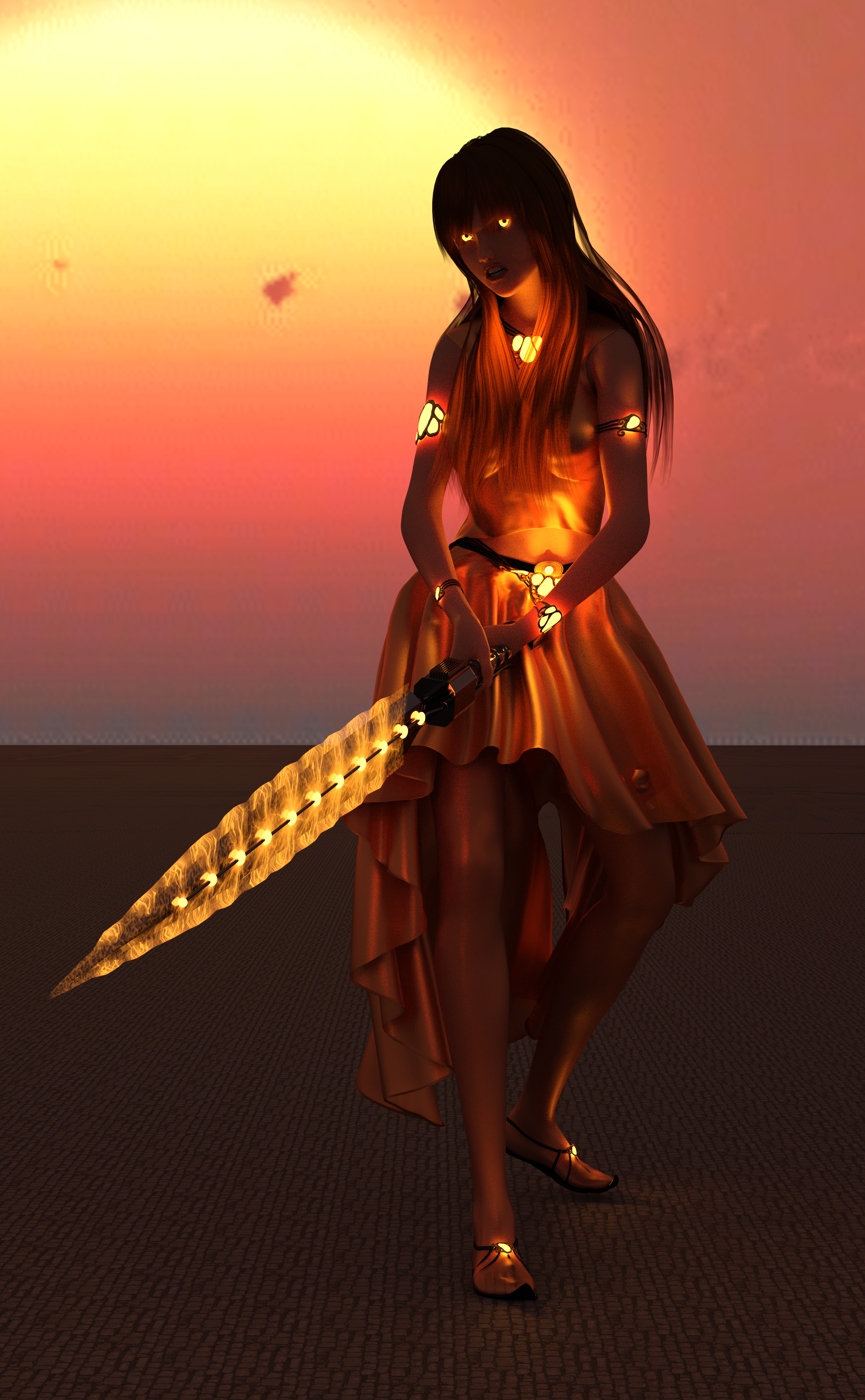 A woman with orange clothes, orange hair, a sword charged with orange magic, and glowing orange eyes!