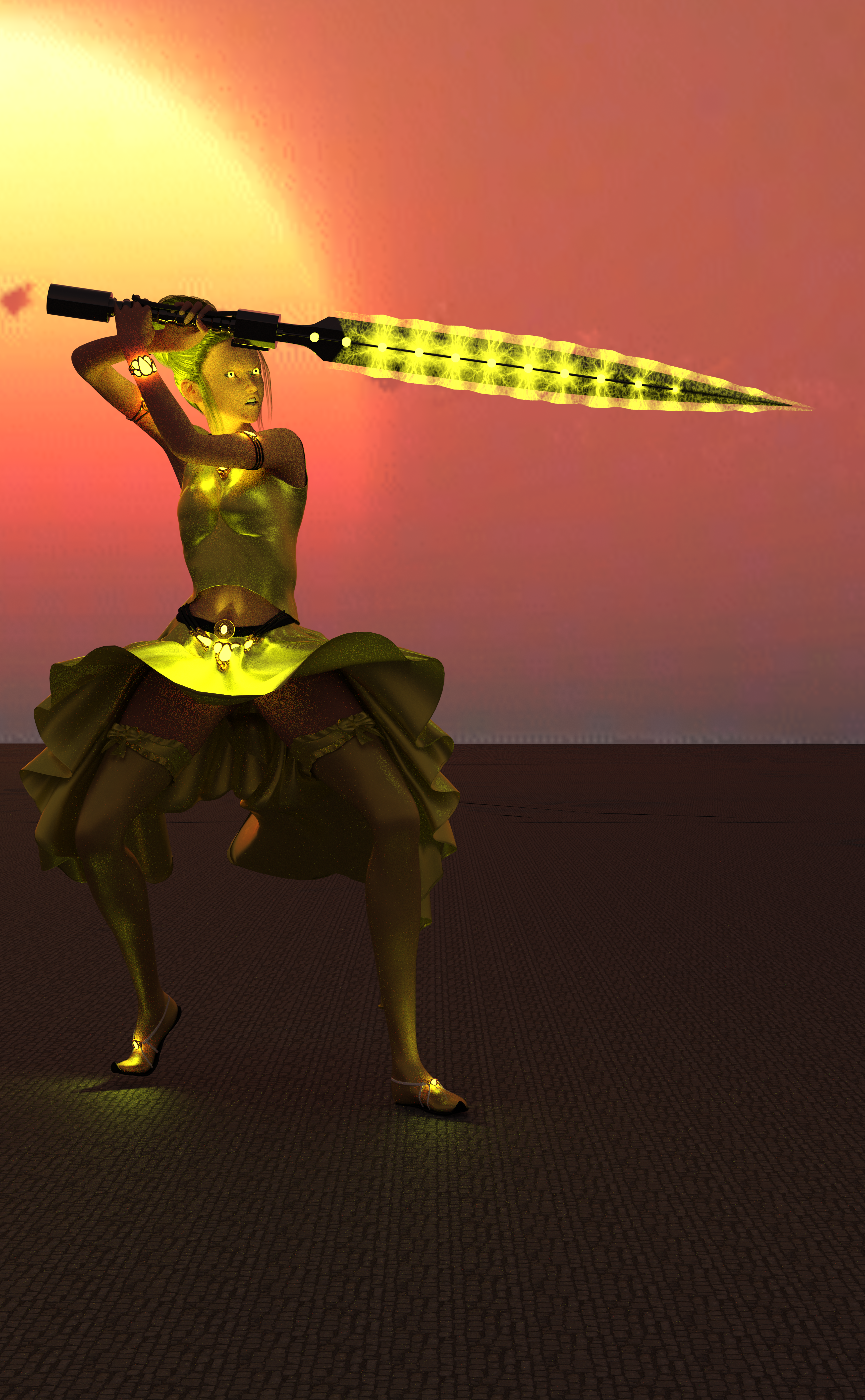 A woman with yellow clothes, yellow hair, a sword charged with yellow magic, and glowing yellow eyes!