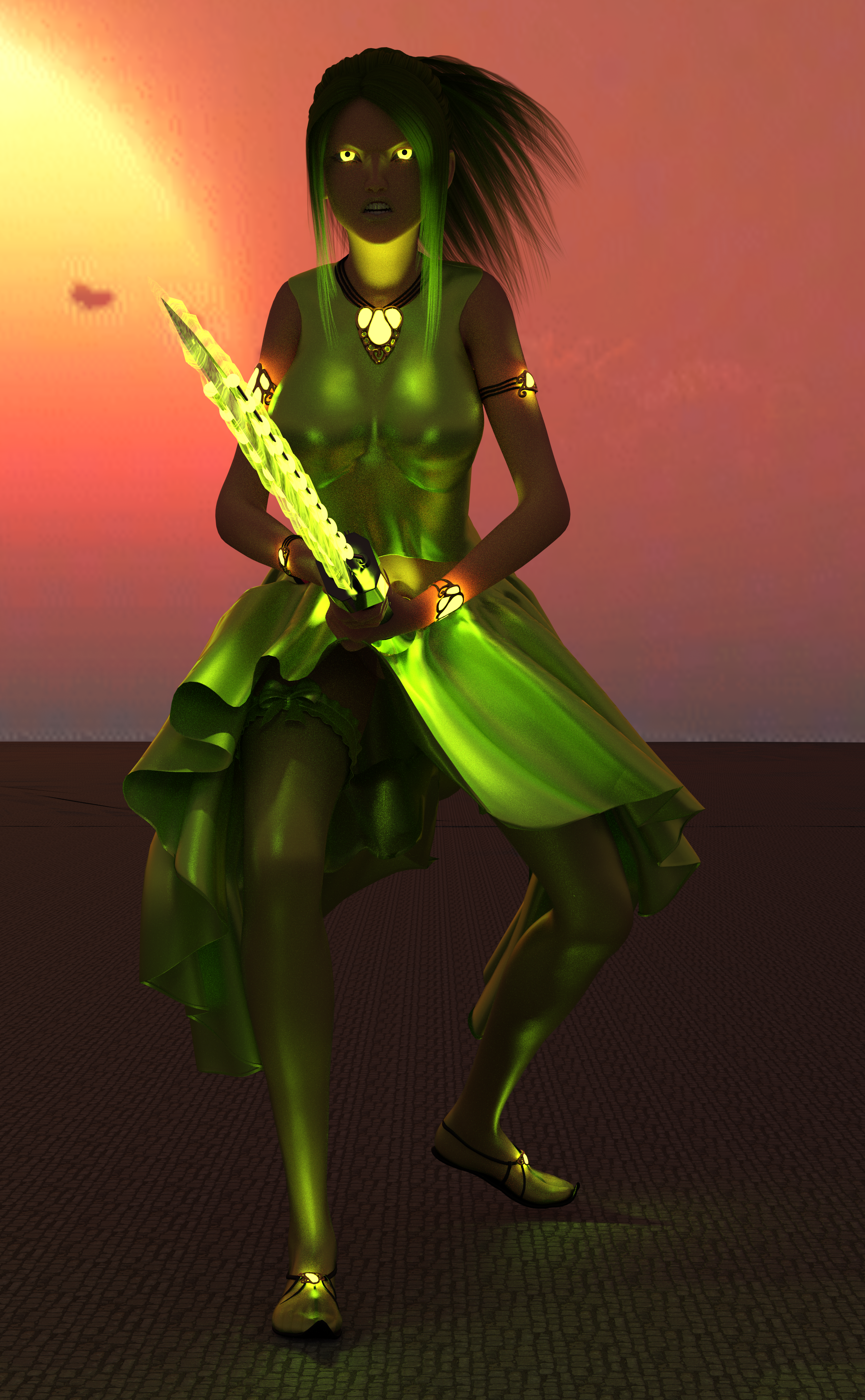 A woman with lime clothes, lime hair, a sword charged with lime magic, and glowing lime eyes!
