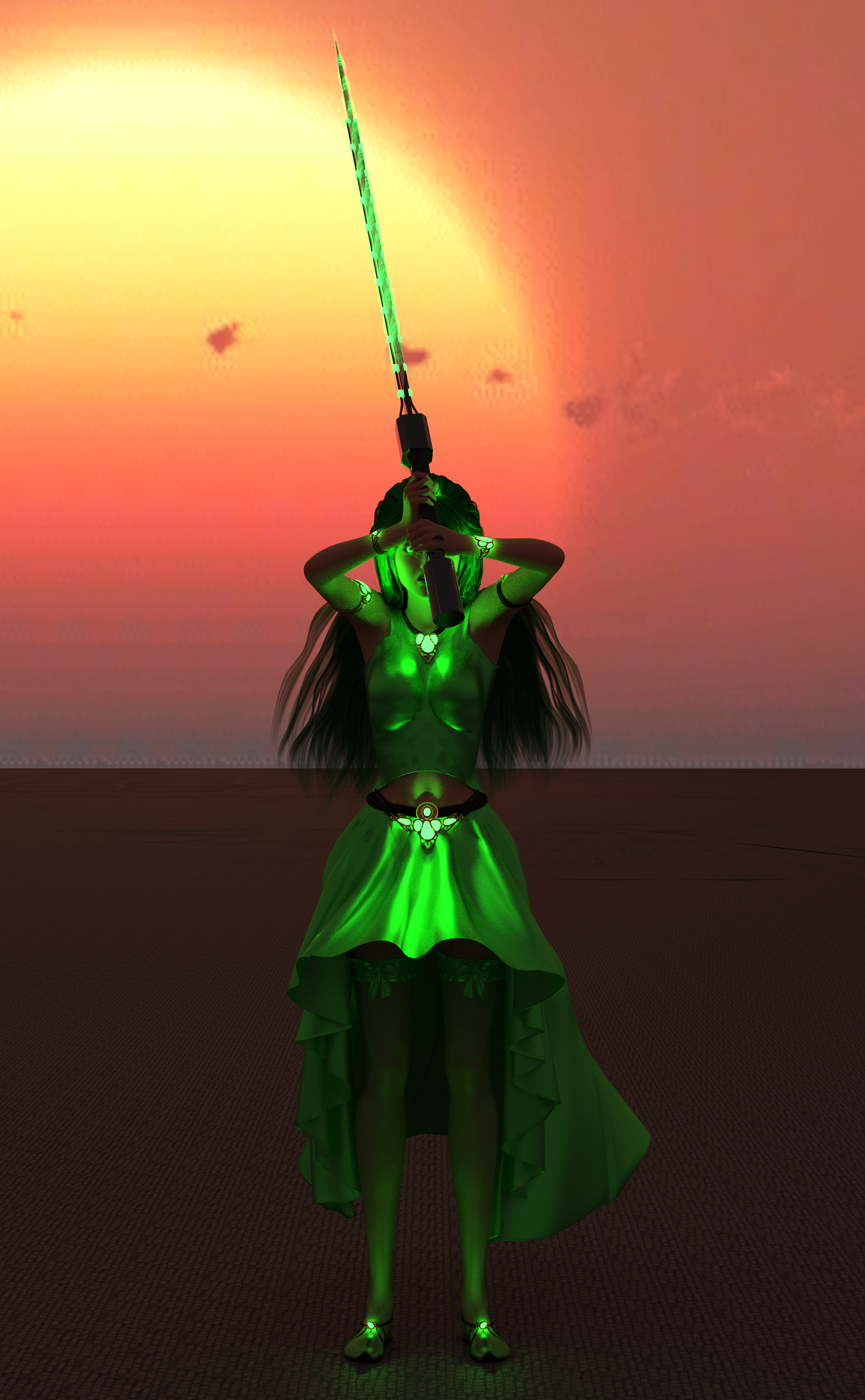 A woman with green clothes, green hair, a sword charged with green magic, and glowing green eyes!