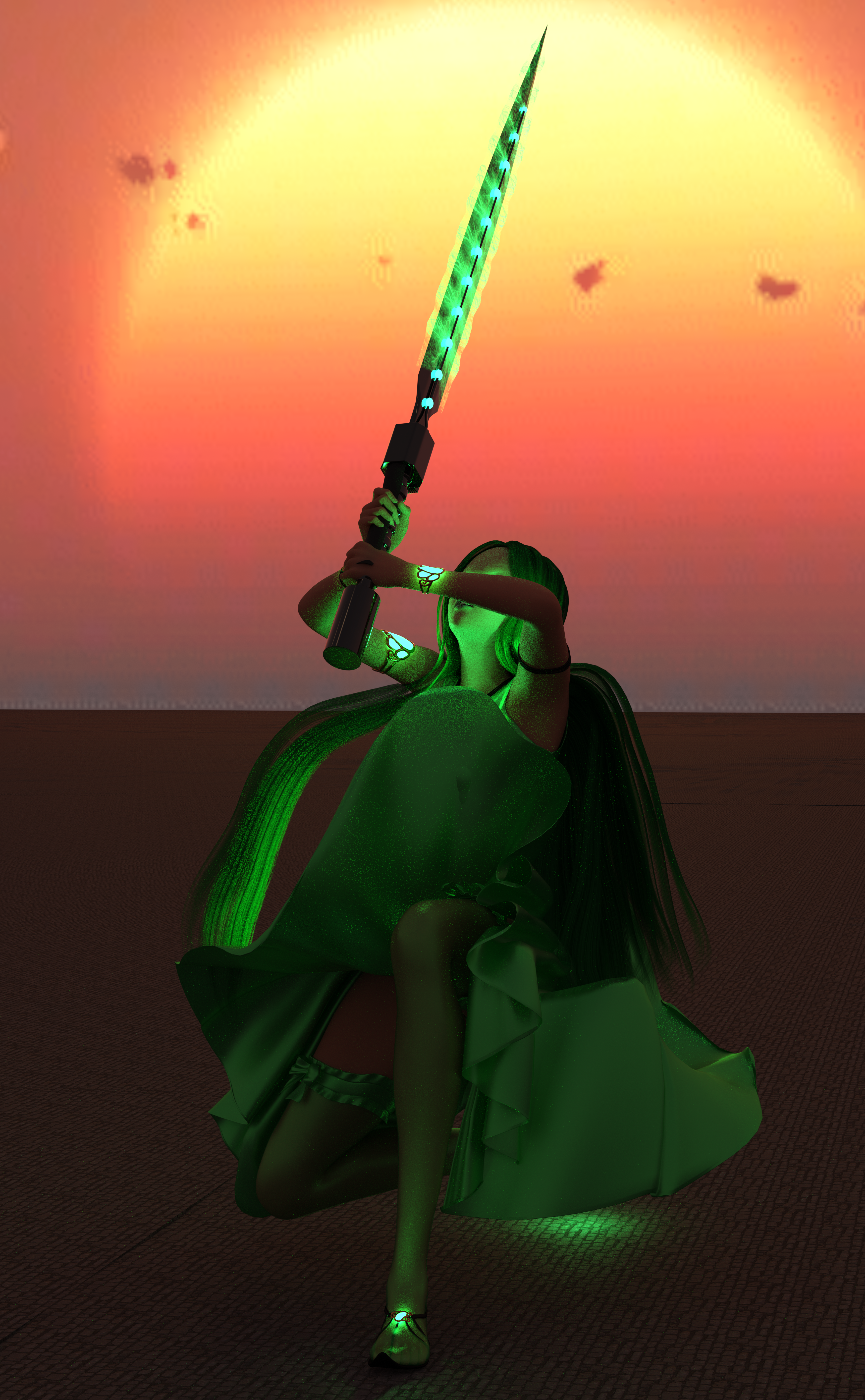 A woman with malachite clothes, malachite hair, a sword charged with malachite magic, and glowing malachite eyes!