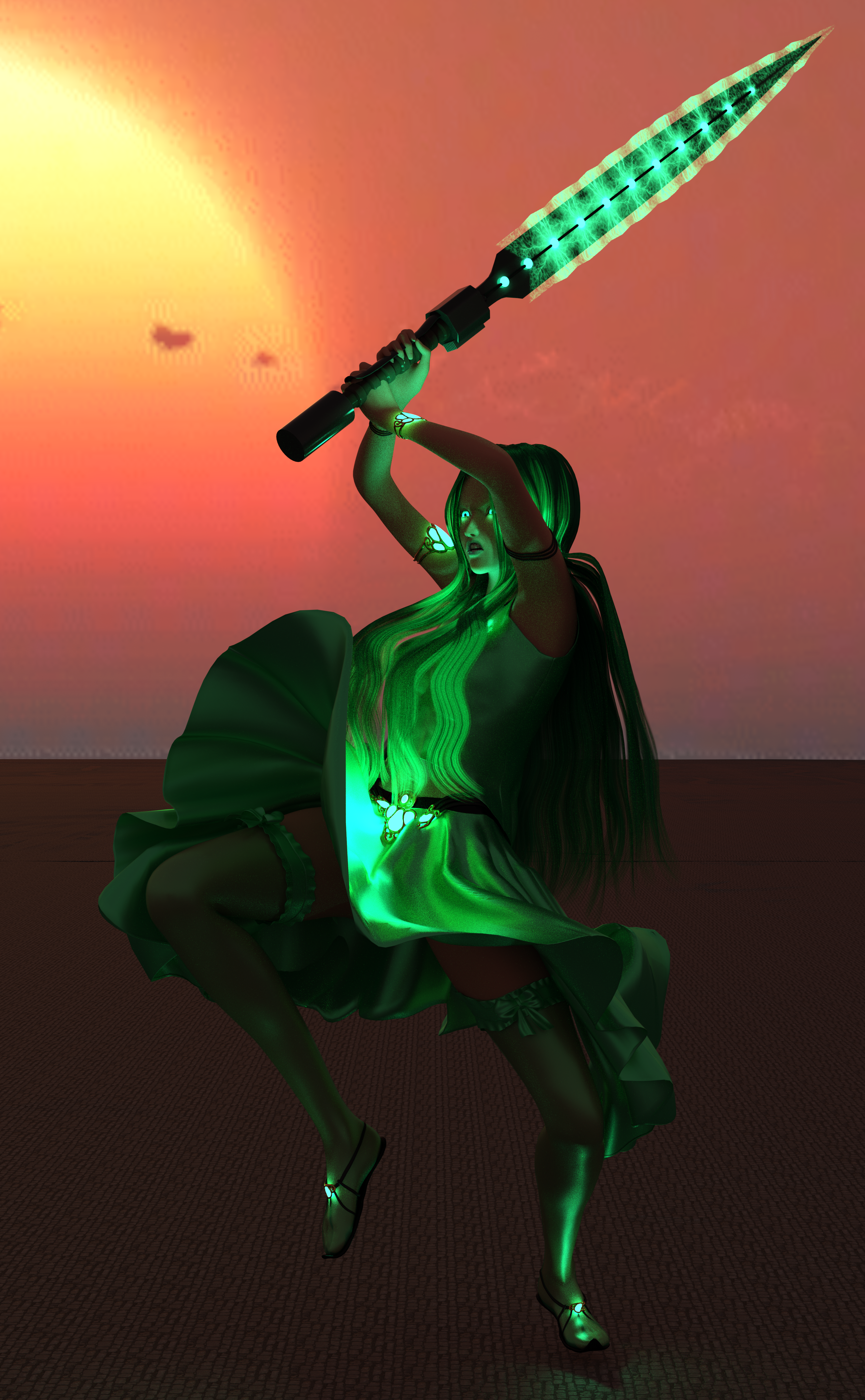 A woman with teal clothes, teal hair, a sword charged with teal magic, and glowing teal eyes!