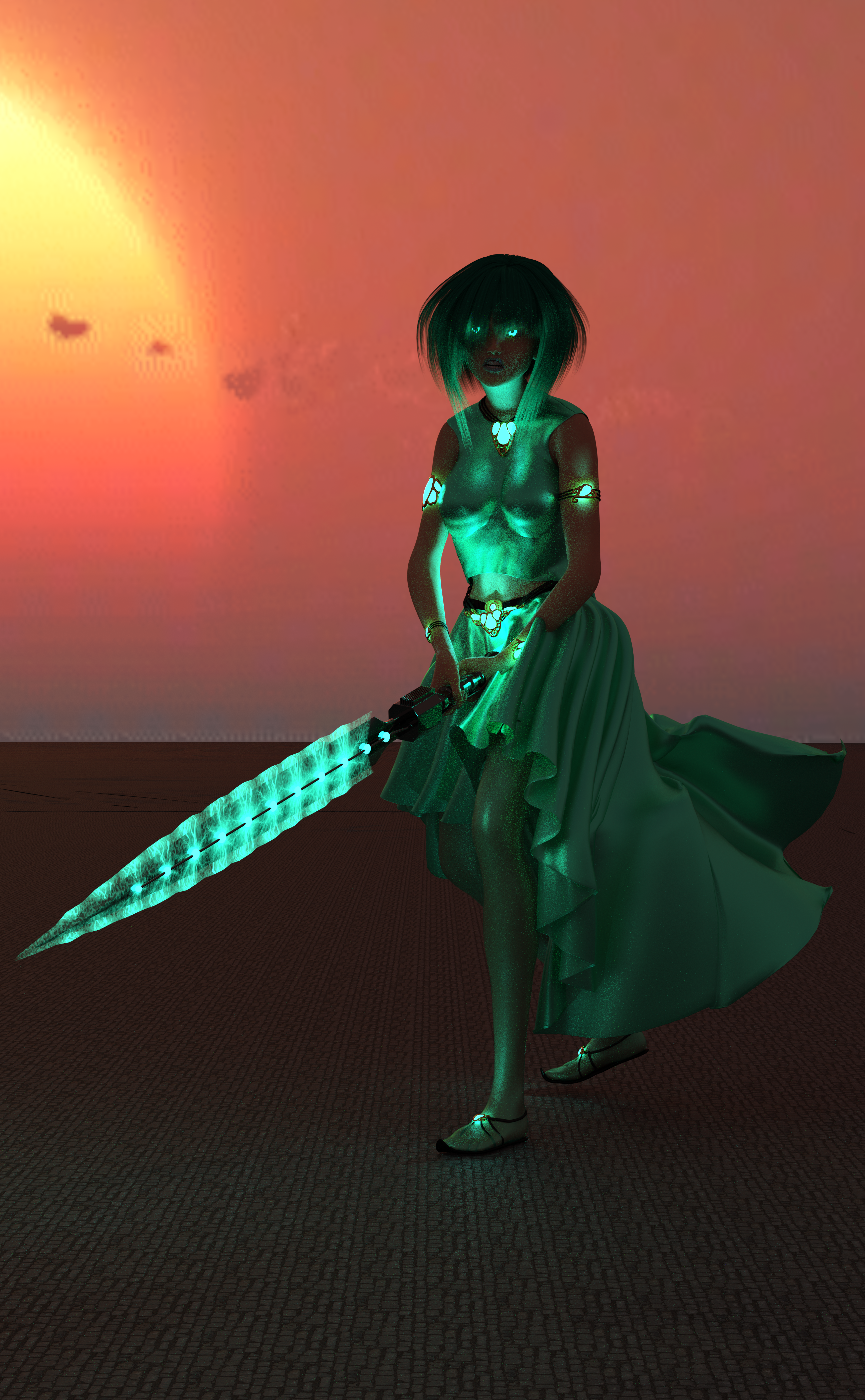 A woman with turquoise clothes, turquoise hair, a sword charged with turquoise magic, and glowing turquoise eyes!