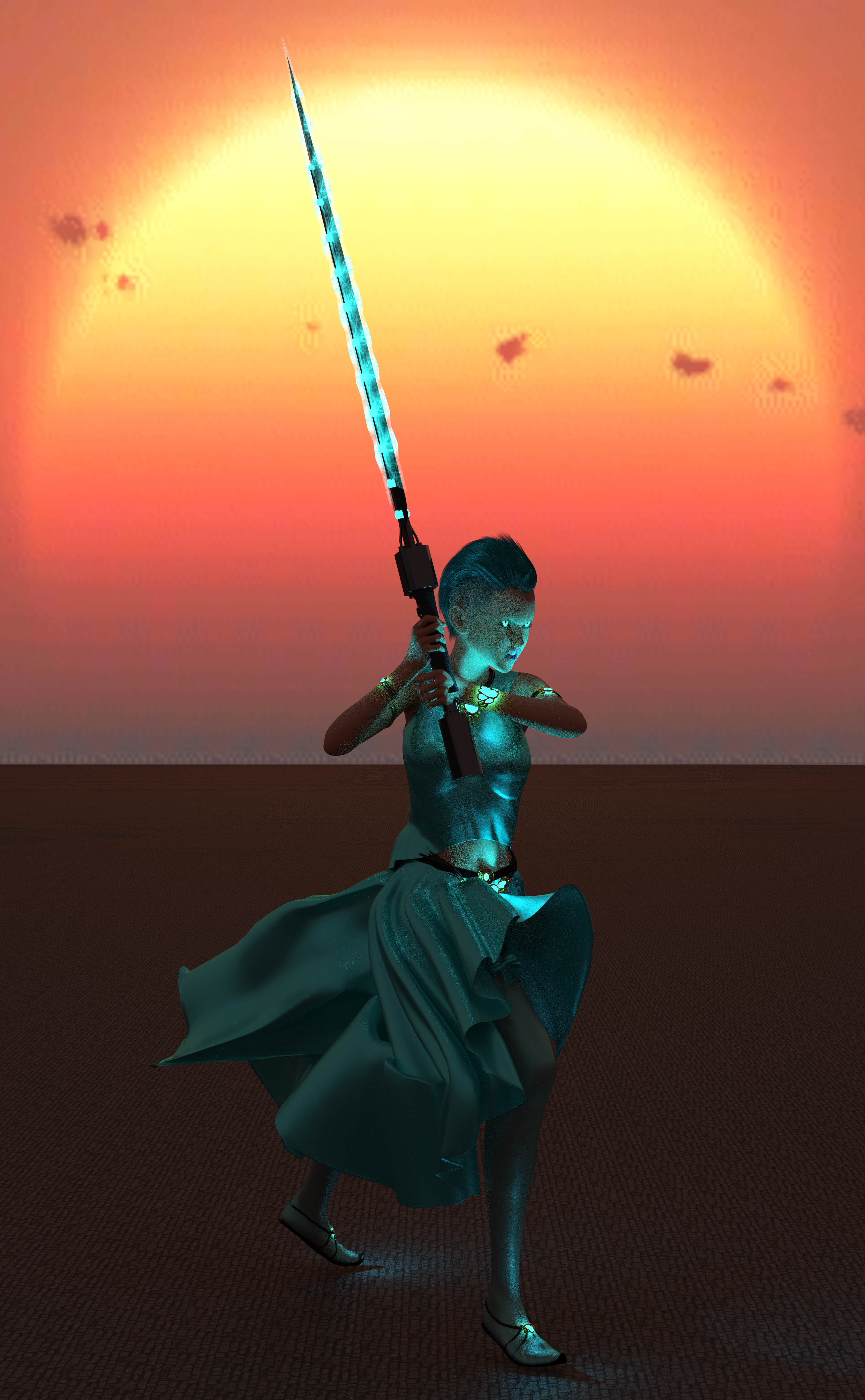 A woman with cyan clothes, cyan hair, a sword charged with cyan magic, and glowing cyan eyes!