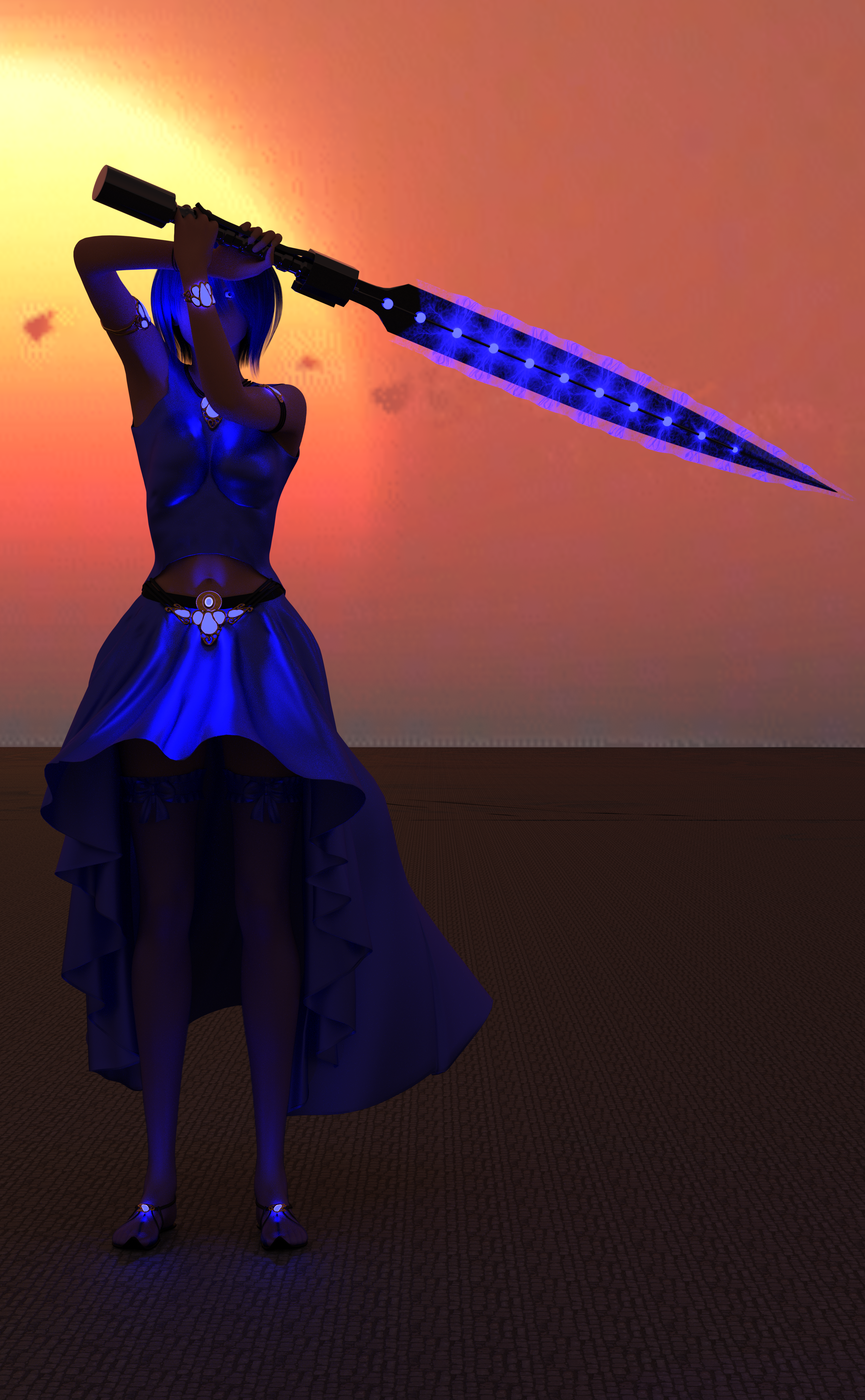A woman with blue clothes, blue hair, a sword charged with blue magic, and glowing blue eyes!