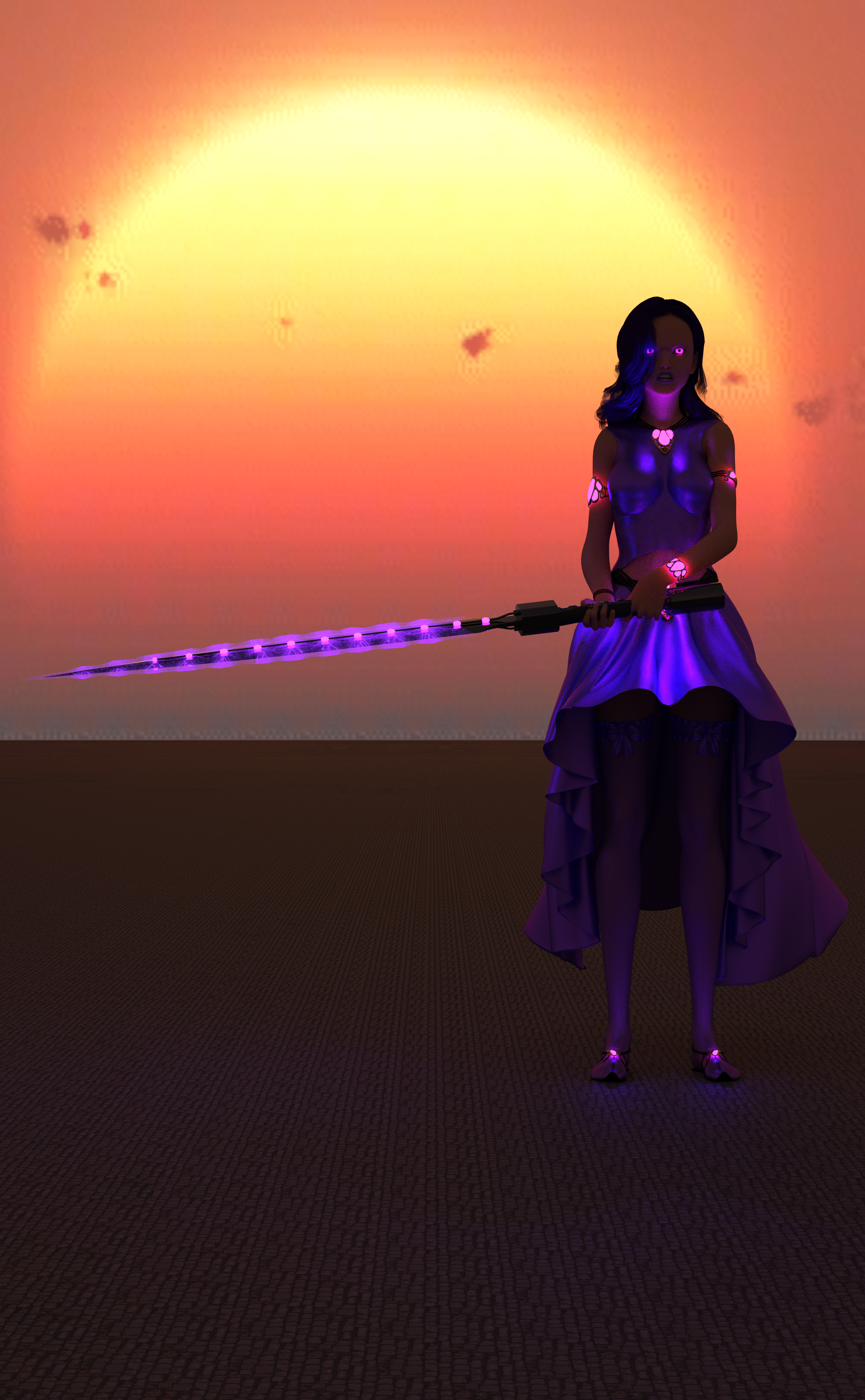 A woman with violet clothes, violet hair, a sword charged with violet magic, and glowing violet eyes!