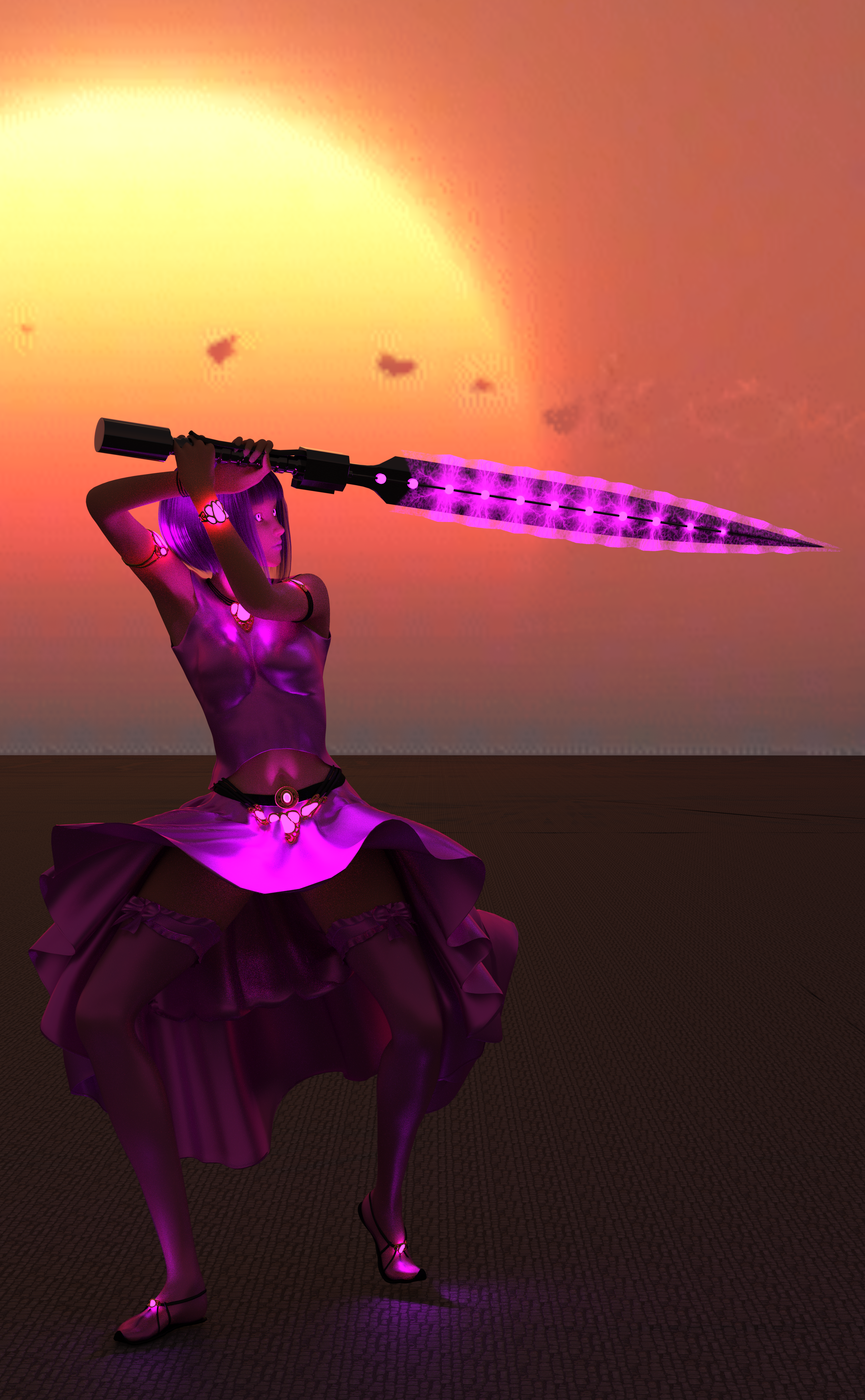 A woman with magenta clothes, magenta hair, a sword charged with magenta magic, and glowing magenta eyes!