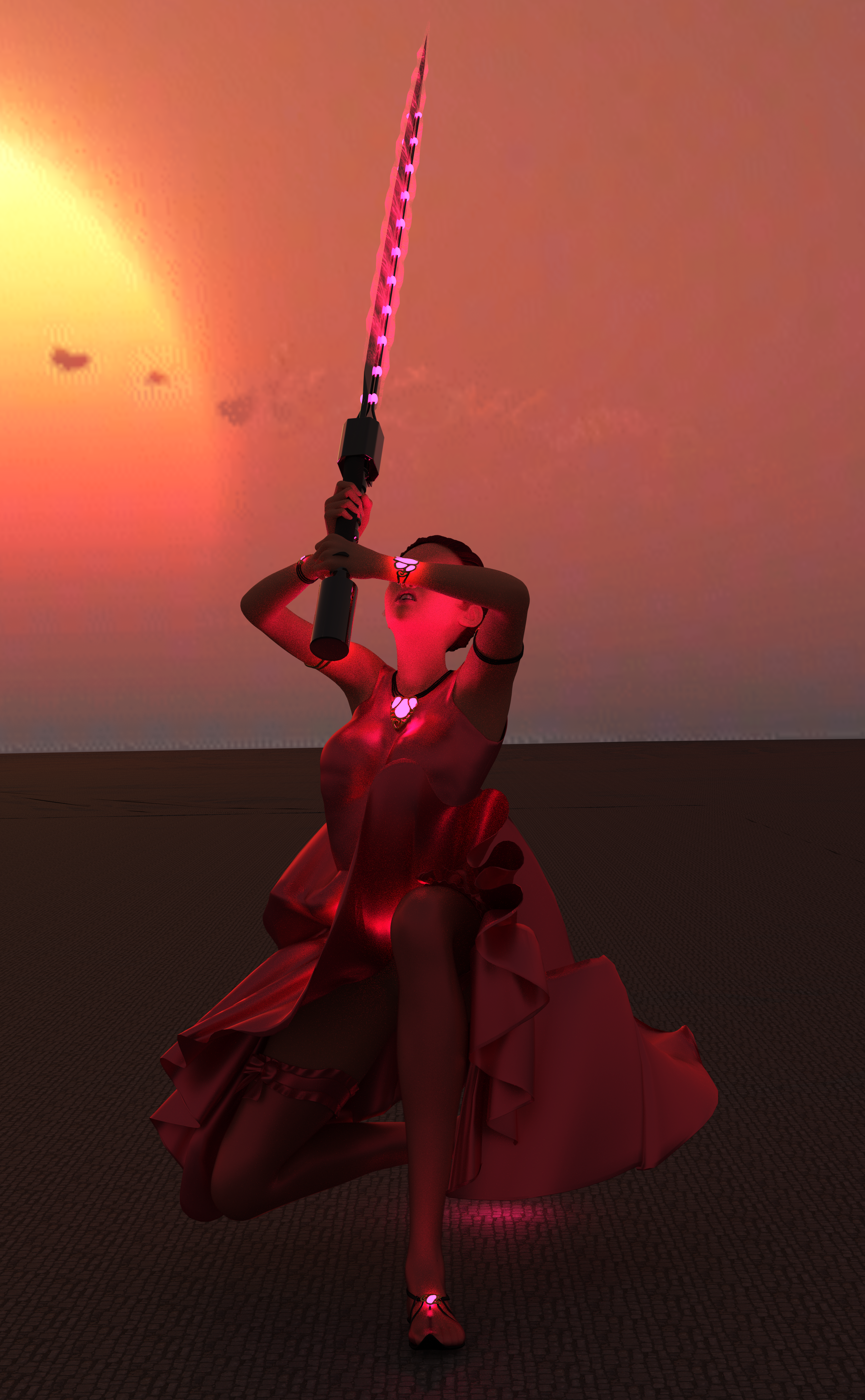 A woman with crimson clothes, crimson hair, a sword charged with crimson magic, and glowing crimson eyes!