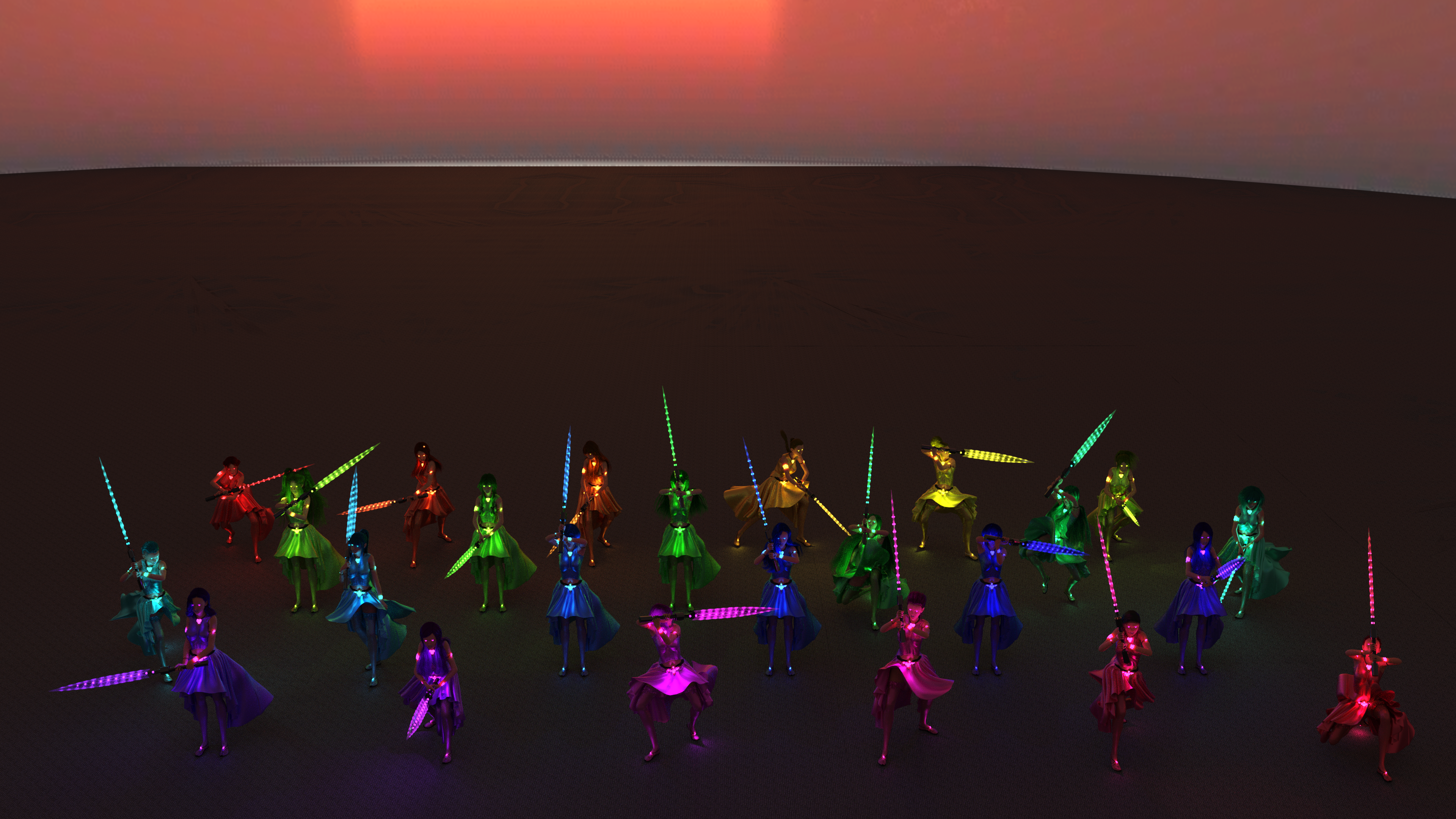 A group shot of all the women training with their magical swords.