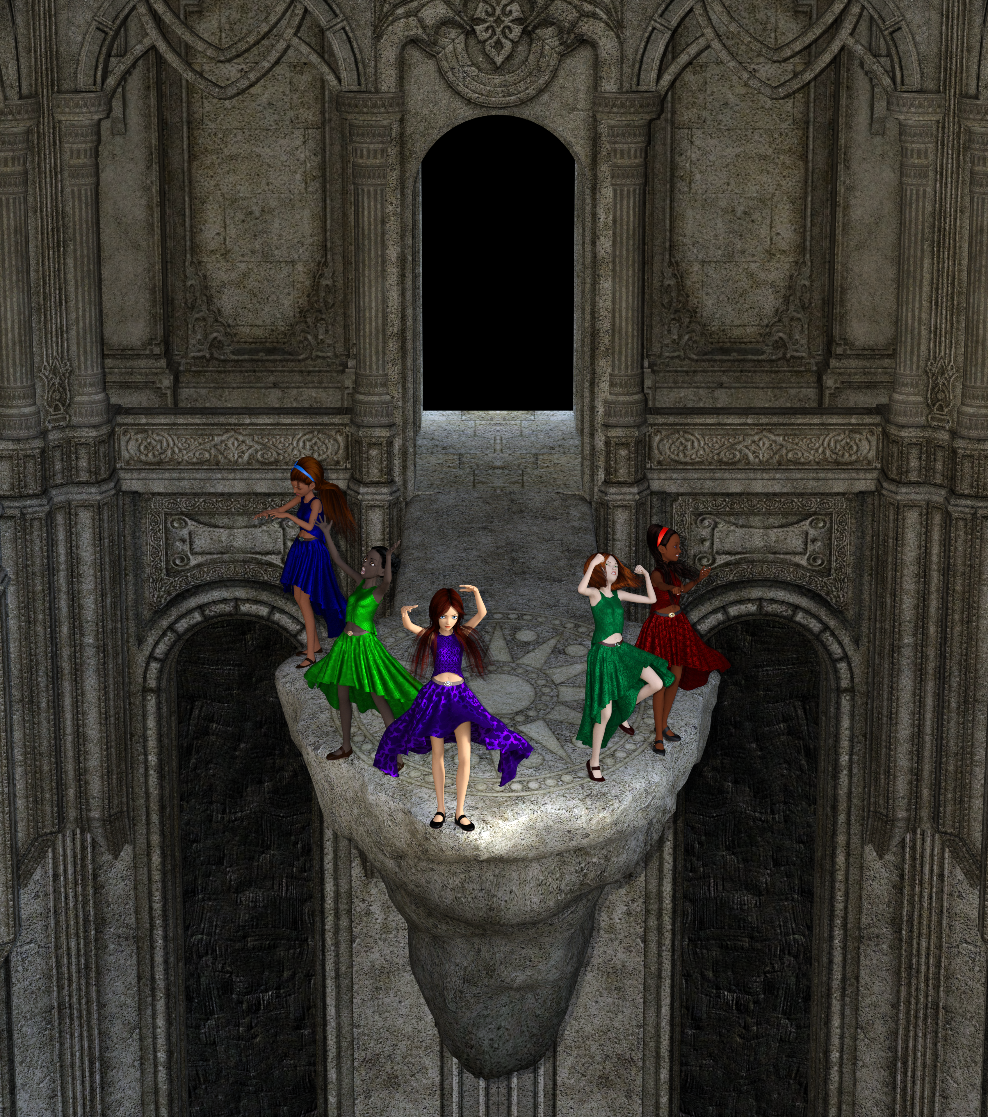 Five women seeking magical powers in an ancient chasm.